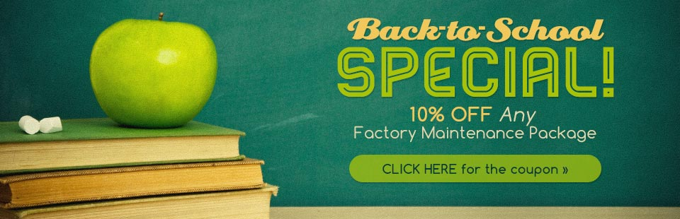 Contact Ellis Automotive and get ready for Back to School: Get 10% off any factory maintenance package! Click here to print the coupon.