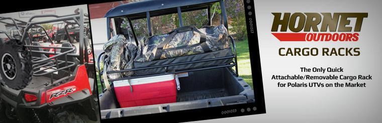 Hornet Outdoors makes the only quick attachable/removable cargo rack for Polaris UTVs on the market. Click here to view the catalog online.