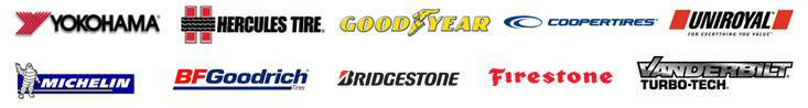 We carry products from Yokohama, Hercules, Goodyear, Cooper, Uniroyal®, Michelin®, BFGoodrich®, Bridgestone, Firestone, and Vanderbilt.
