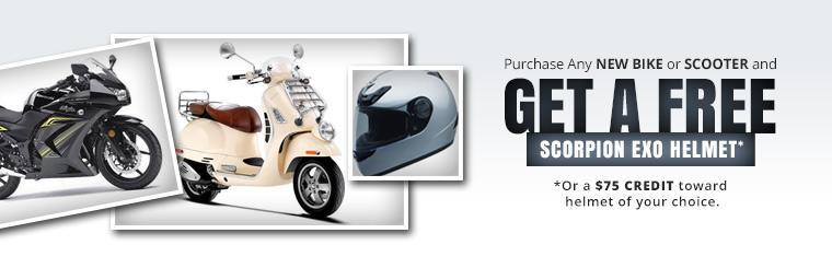 Purchase any new bike or scooter and get a free Scorpion EXO helmet or a $75 credit toward helmet of your choice.