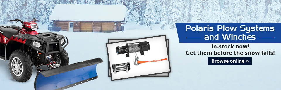 Motor-Vation has Polaris plow systems and winches in stock now! Click here to view our selection.