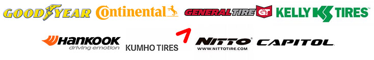We carry products from Goodyear, Continental, General, Kelly, Hankook, Kumho, Nitto, and Capitol.