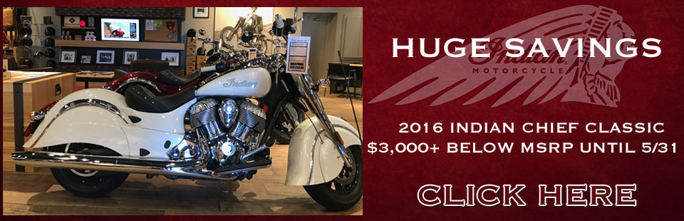 Huge Savings on 2016 Indian Motorcycle Chief Classic- On Sale