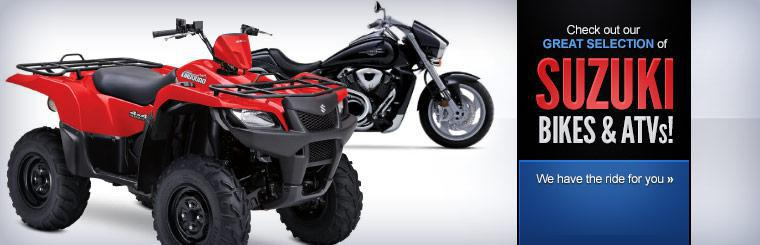 Check out our great selection of Suzuki bikes and ATVs! We have the ride for you.