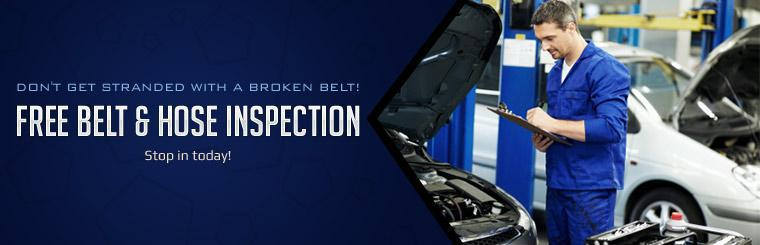 Don't get stranded with a broken belt! Stop in today for a free belt and hose inspection!