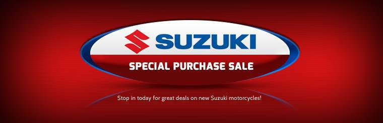 Suzuki Special Purchase Sale: Stop in today for great deals on new Suzuki motorcycles!