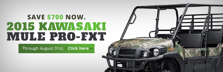 Save $700 on the 2015 Kawasaki Mule Pro-FXT! Click here for details.