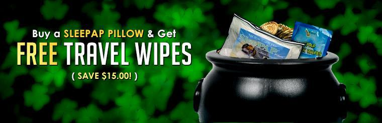 Buy a Sleepap pillow and get free travel wipes!
