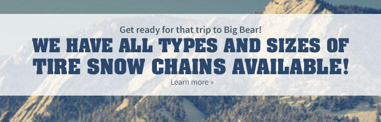 We have all types and sizes of tire snow chains available!