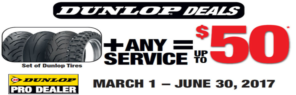 Buy a set of Dunlop tires + any service & receive up to $50