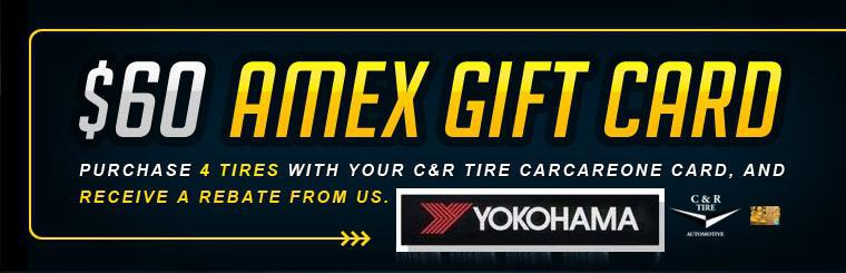 Purchase 4 tires with your C&R Tire CarCareOne card, and receive a rebate from us. Click here for a coupon.
