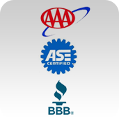 We are are affiliated with AAA and BBB. Our technicians are ASE certified.