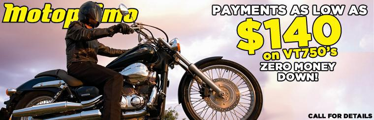 Honda Shadow VT750 Financing. No money down. Bad Credit