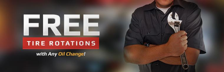 Free tire rotations with any oil change. Click here for the coupon.