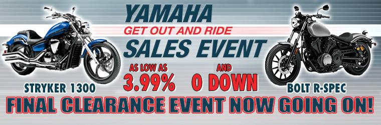 Yamaha Get Out and Ride Sales Event: 3.99% financing and $0 Down!