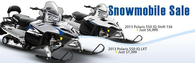 Click here to check out our snowmobile sale. We have a 2013 Polaris 550 IQ LXT for just $7,399 and a 2013 Polaris 550 IQ Shift 136 for just $6,999.