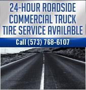 24-hour roadside commercial truck tire service available