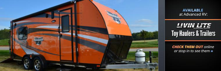LivinLite toy haulers and trailers are available at Advanced RV! Click here to check them out online or stop in to see them.