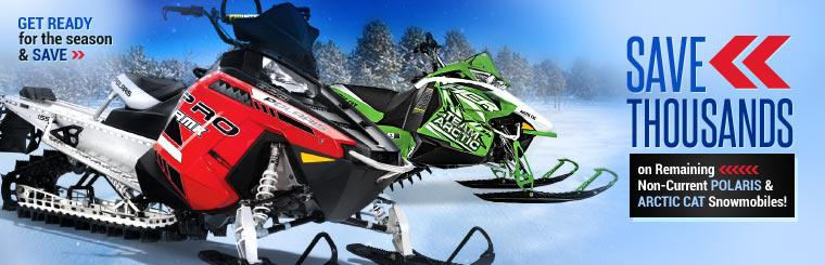 Save thousands on remaining non-current Polaris and Arctic Cat snowmobiles!