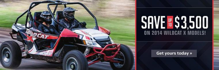 Save up to $3,500 on 2014 Arctic Cat Wildcat X models!