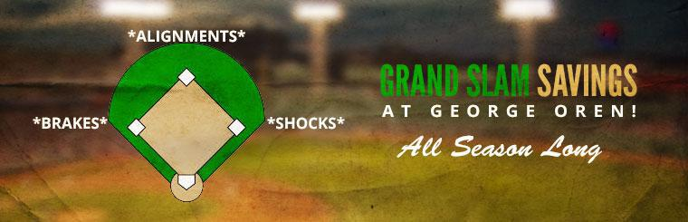 Grand Slam Savings on Brakes, Alignments, and Shocks: Click here to view the services we offer.
