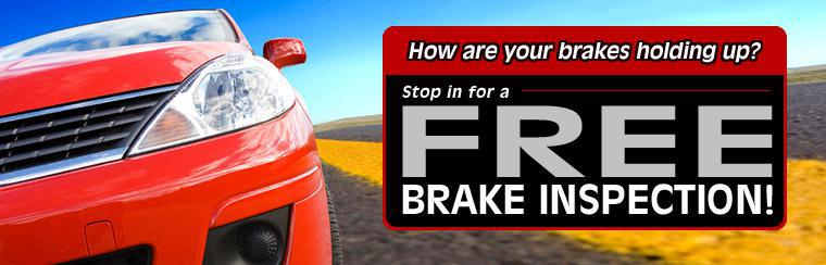How are your brakes holding up? Stop in for a free brake inspection!