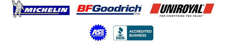 We proudly carry Michelin®, BFGoodrich®, and Uniroyal®.
