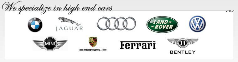 We carry products by BMW, Jaguard, Audi, Land Rover, Volkswagen, Mini Cooper, Porche, Ferrari, and Bentley.