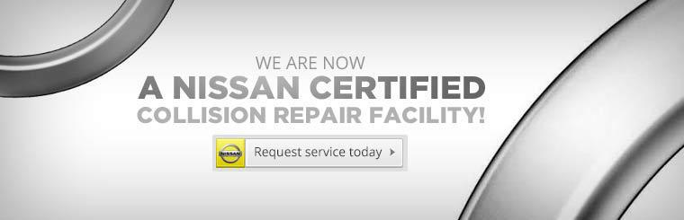 We are a Nissan Certified Collision Repair Facility! Request service today.