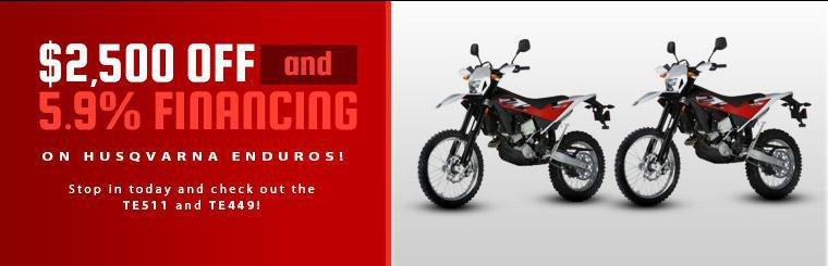 Get $2,500 off and 5.9% financing on Husqvarna enduro bikes! Stop in today and check out the TE511 and TE449!