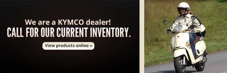 We are a KYMCO dealer! Call for our current inventory or click here to view products online.