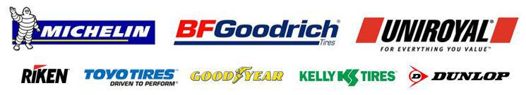 We carry Michelin®, BFGoodrich®, Uniroyal®, Riken, Toyo, Goodyear, Kelly, and Dunlop products.