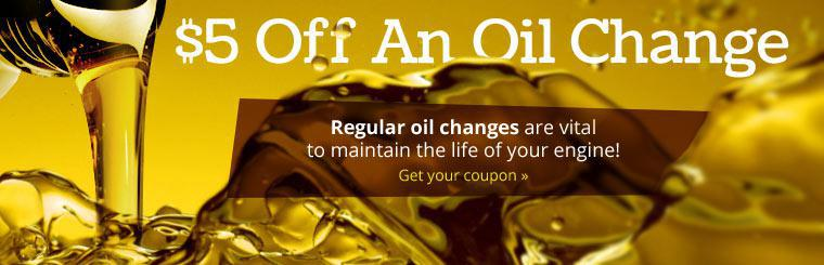 Regular oil changes are vital to maintain the life of your engine! Click here to get your coupon for $5 off an oil change.