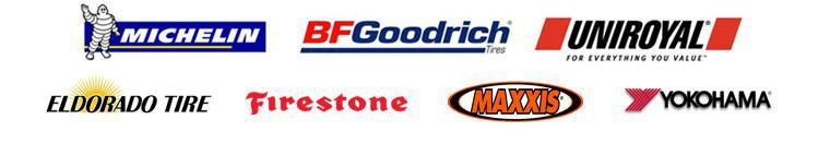 We carry products from Michelin®, BFGoodrich®, Uniroyal®, Eldorado Tire, Firestone, Maxxis and Yokohama.