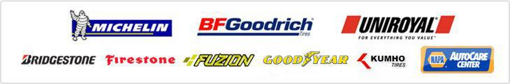 We proudly offer products from Michelin®, BFGoodrich®, Uniroyal®, Bridgestone, Firestone, Fuzion, Goodyear, Kumho, and NAPA.