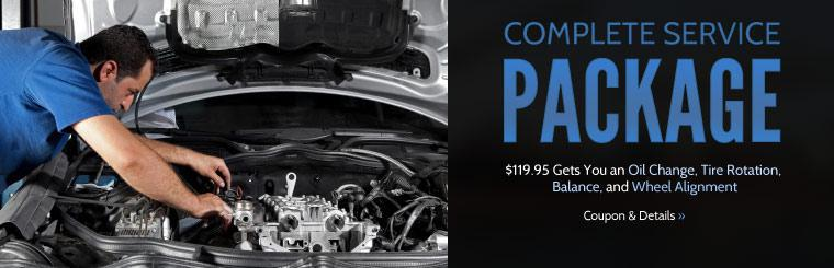 Complete Service Package: $119.95 gets you an oil change, tire rotation, balance, and wheel alignment! Click here for details.
