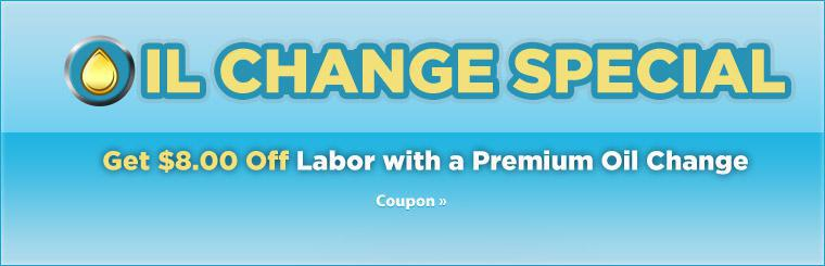 Oil Change Special: Get $8.00 off labor with the purchase of a Premium Oil Change! Click here to print the coupon.