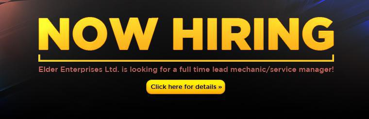 We are hiring! Elder Enterprises Ltd. is looking for a full time lead mechanic/service manager! Click here for details.
