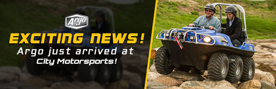 Exciting News: Argo side x sides are coming soon to City Motorsports! Click here to view the showcase.