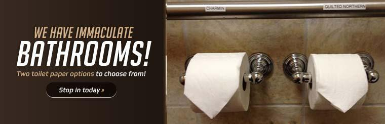 We have immaculate bathrooms with two toilet paper options to choose from!