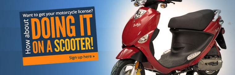 Want to get your motorcycle license? How about doing it on a scooter! Click here to sign up.