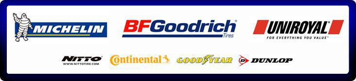 We proudly carry tires from Michelin®, BFGoodrich®, Uniroyal®, Nitto, Continental, Goodyear, and Dunlop.
