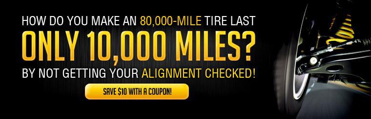 Save $10 on your next alignment with coupon.