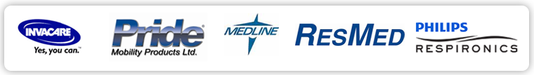 We carry products from Invacare, Pride, Medline, ResMed, and Respironcs.
