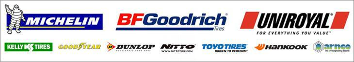 We proudly carry Michelin®, BFGoodrich®, Uniroyal®, Kelly, Goodyear, Dunlop, Nitto, Toyo, Hankook, and Arnco.