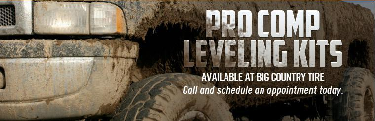 Pro Comp leveling kits are available at Big Country Tire! Call and schedule an appointment today.
