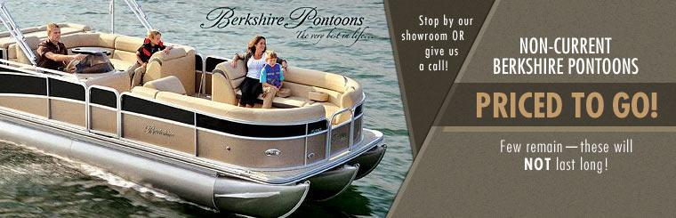 Non-current Berkshire pontoons are priced to go! Stop by our showroom or give us a call!