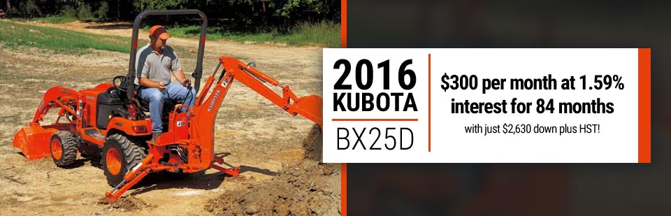 Get the 2016 Kubota BX25D for $300 per month at 1.59% interest for 84 months. Click here for more information.