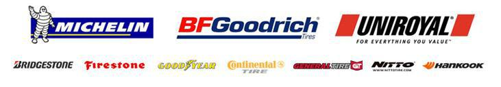 We proudly offer products from: Michelin®, BFGoodrich®, Uniroyal®, Bridgestone, Firestone, Goodyear, Continental, General, Nitto, and Hankook.