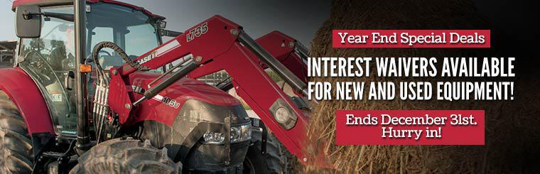 Year End Special Deals: We have interest waivers available for new and used equipment! Hurry in, offer ends December 31st. Click here to view our inventory.